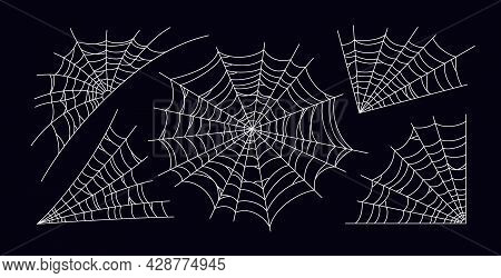 Set Of Scary Spider Web. White Cobweb Silhouette Isolated On Black Background. Hand Drawn Spider Web