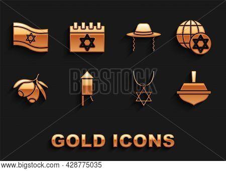 Set Firework Rocket, World Globe And Israel, Hanukkah Dreidel, Star Of David Necklace On Chain, Oliv