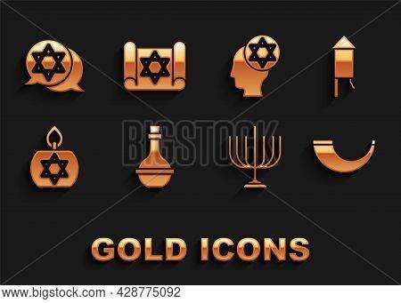 Set Jewish Wine Bottle, Firework Rocket, Traditional Ram Horn, Shofar, Hanukkah Menorah, Burning Can