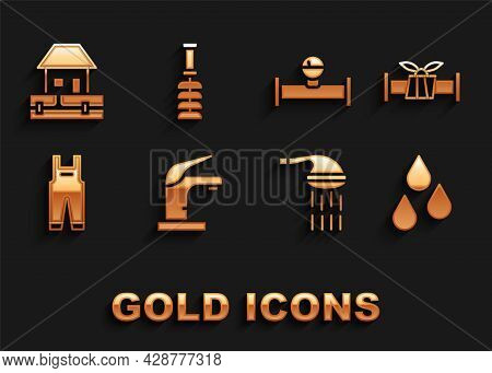 Set Water Tap, Industry Metallic Pipe, Drop, Shower, Work Overalls, And Manometer, Supply Pipes And