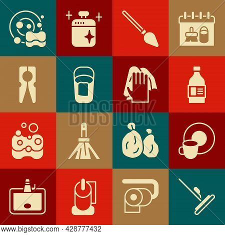 Set Mop, Washing Dishes, Bottle For Cleaning Agent, Handle Broom, Bucket With Rag, Clothes Pin, And