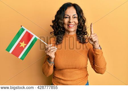 Middle age hispanic woman holding suriname flag smiling with an idea or question pointing finger with happy face, number one