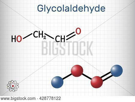 Glycolaldehyde Molecule. It Contains Aldehyde Group And Hydroxyl Group. Structural Chemical Formula
