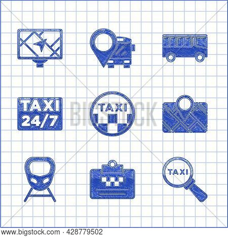 Set Taxi Car Roof, Driver License, Magnifying Glass And Taxi, Gps Device With Map, High-speed Train,