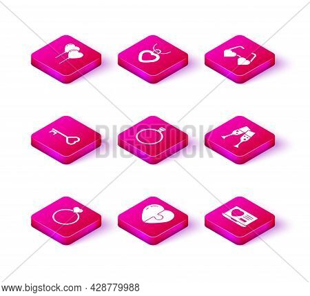 Set Wedding Rings, Heart, Key Heart Shape, Diamond Engagement, Dating App Online, Glass Of Champagne