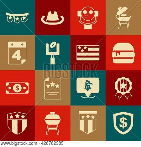 Set Shield With Dollar, Medal Star, Burger, Tourist Binoculars, American Football Goal Post, Calenda