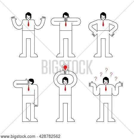 Businessman Different Feelings. Office Senses Set. Vector Illustration