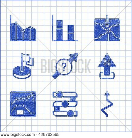 Set Arrow, Graph, Chart, Diagram, Percent Up Arrow, Flag, Intersection Point And Pie Infographic Ico