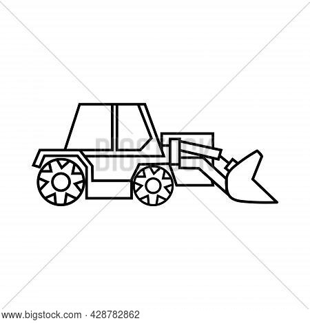 Vector Bulldozer Icon, Linear Drawing, Isolated On A White Background.