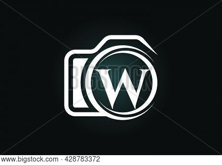 Initial W Monogram Letter Alphabet With A Camera Icon. Photography Logo Vector Illustration. Modern