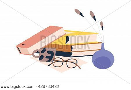 Stack Of Books, Glasses, Coffee Cup And Plant In Vase. Composition Of Textbooks Pile, Eyeglasses And
