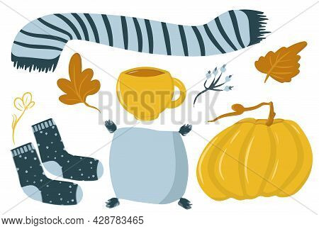 Autumn Cozy Collection Of Elements, Set With Mug, Scarf, Pillow, Socks, Pumpkin, Pumpkin Drink, Autu