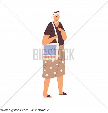 Aged Gray-haired Woman Walking. Happy Senior Female Strolling. Modern Elderly Person In Casual Summe