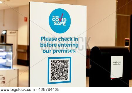 Sydney, Australia 2021-07-30 Mandatory Covid Safe Qr-code Check In And Check Out At All Indoor Venue