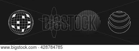 Set Of Retrofuturistic Circle Shapes. Retrofuturistic Planet, Atom, Striped Circle In Cyberpunk 80s