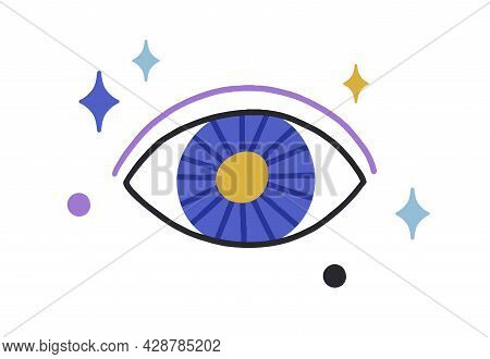 Esoteric Magic Evil Eye Among Stars. Mystical Occult Eyeball With Hypnotic Look. Holy God Watching.