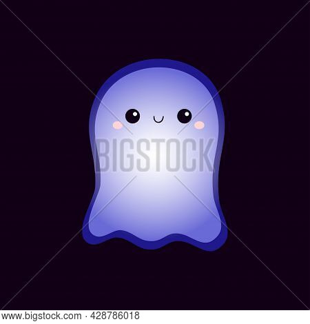 Cute Flying Ghost Spirit. Happy Halloween. Scary White Glowing Ghosts. Neon Blue Effect. Cartoon Spo