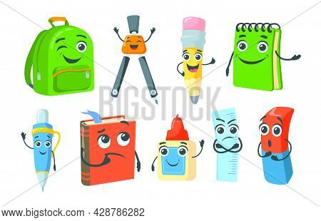 Bright School Stationery Characters Flat Pictures Collection. Cartoon Happy Pencil, Book, Spiral Not