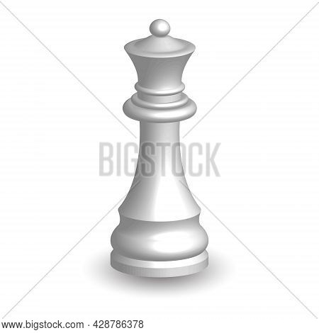 White Chess Piece Queen 3d On White Background. Board Game Chess. Chess Piece 3d Render.vector Illus