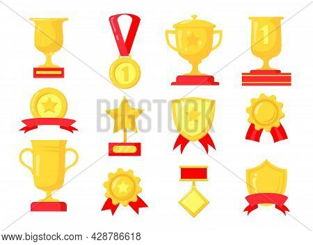 Cartoon Set Of Different Golden Awards For Winner. Flat Vector Illustration. Collection Of Colorful