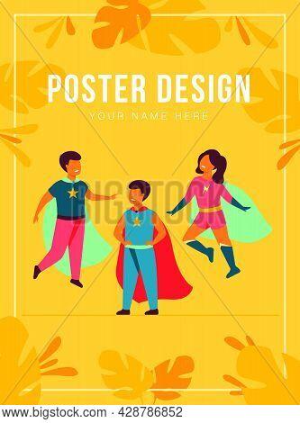 Children Playing Superhero Characters. Cheerful Kids Wearing Super Hero Costumes With Cape, Standing