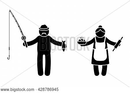 Grandparent Stick Figure Old Man And Woman Vector Illustration Set. Grandpa With Fishing Rod And Gra