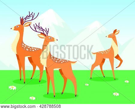 Deer Grazing In Cartoon Style. Herd Of Deer On Meadow With Green Grass And White Flowers. Mountains