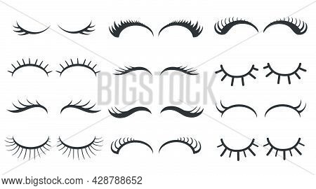 Different Simple Styles Of Eyelashes Vector Illustrations Set. Closed Girly Eyes, Mascara For Girls