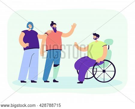 Disabled Person Greeting Man In Wheelchair. Character With Artificial Leg, Handicapped People Flat V