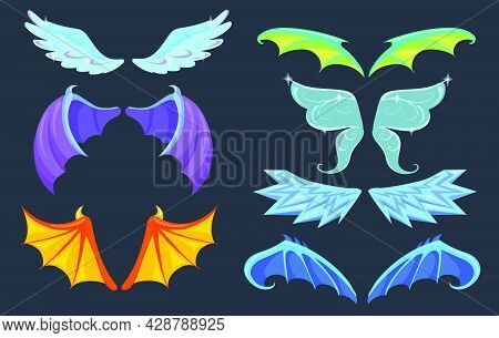 Fabulous Creatures Wings Set. Dragon, Monster, Angel, Butterfly Wings Isolated In Black. Cartoon Vec