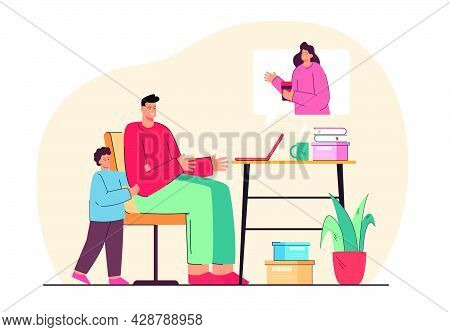 Family Having Video Call During Pandemic. Flat Vector Illustration Of Son And Father Communicating W