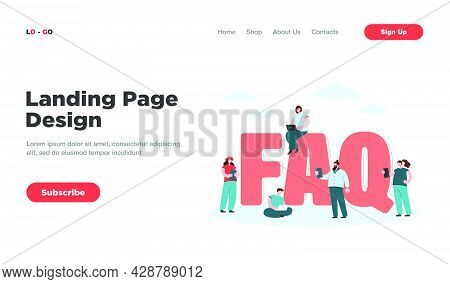 Faq Flat Vector Illustration. Tiny Users Near Giant Letters Asking Questions And Getting Answers, In