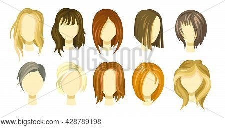 Female Hair Style Collection. Blond, Brown And Ginger Haircuts For Girls. Short And Long Hair Wigs F