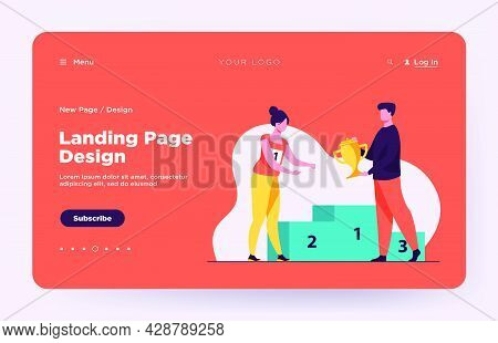 Female Winner Getting First Prize. Man Giving Golden Cup To Woman At Podium Flat Vector Illustration