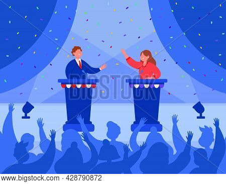 Happy Male And Female Politicians Greeting Each Other On Stage. Speakers Standing At Rostrum, Having