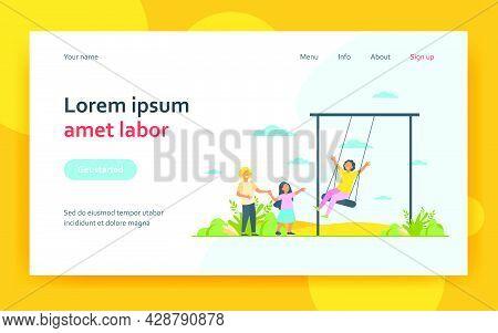 Happy Kid Swinging On Swing. Children Having Fun On Playground In Park. Flat Vector Illustration. Ch