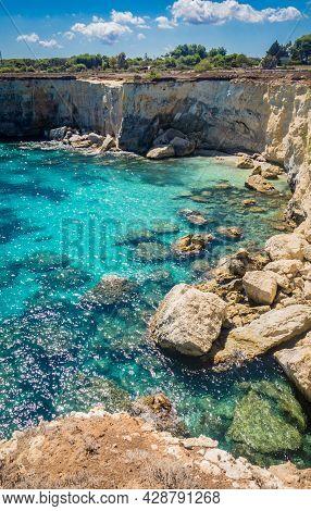 Torre Sant Andrea Near Torre Dellorso, Salento Sea Coast, Apulia, Italy. Beautiful Rocky Seascape Wi