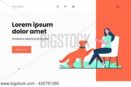 Happy Woman Training Dog And Sitting On Chair. Canine, Friend, Retriever Flat Vector Illustration. D