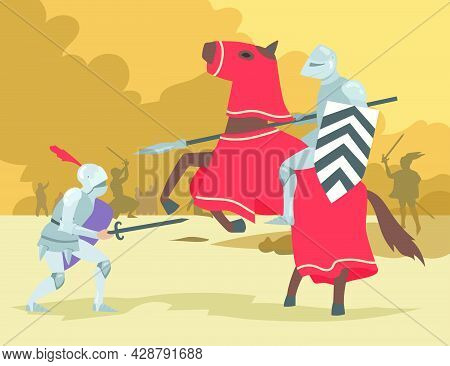 Knight On Horse And Dismount Warrior Fighting. Brave Medieval Solders Men People In Heavy Steel Armo