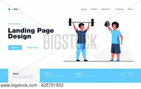 Lovely Kids Training In Gym Together. Dumbbell, Child, Health Flat Vector Illustration. Fitness And