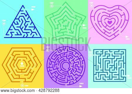 Maze Games In Form Of Different Figures Vector Illustration Set. Circle, Heart, Square, Star, Hexago