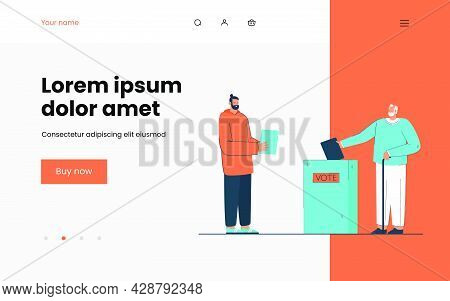 Men Of All Ages Voting Vector Illustration. Elderly Man Throwing Bulletin In Special Box. Young Male