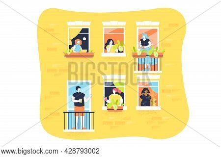 People At Balconies Vector Illustration. Windows With Neighbours Inside Flats. Balconies With Men An