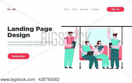 People Inside Subway Or Underground Train Flat Vector Illustration. Cartoon Passengers Using Metro O