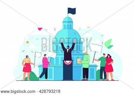 People Taking Part In Political Event Flat Vector Illustration. Democratic Election Campaign, Parlia