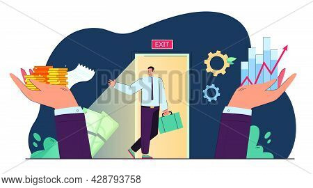 Sale Of Property Rights Metaphor Flat Vector Illustration. Tiny Cartoon Business Owner Selling Profi