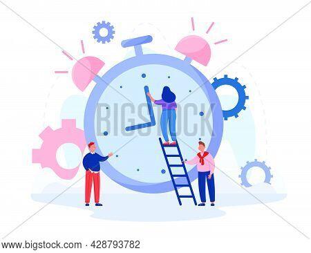 School Children Moving Hour Hand Of Alarm Clock. Girl Standing On Stairs Correcting Chronometer Flat