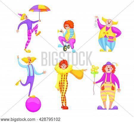 Set Of Cute Circus Clowns Characters. Cartoon Vector Illustration. Funny Jokers Doing Tricks And Mak