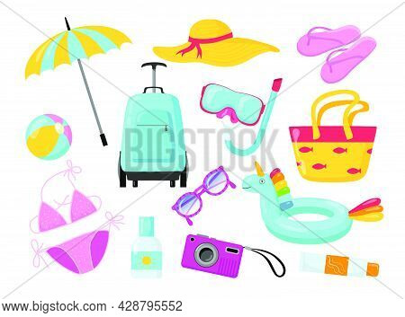 Summer Holiday Accessories And Equipment Flat Pictures Set. Cartoon Hat, Luggage, Umbrella, Swimsuit