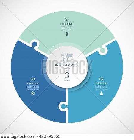 Vector Infographic Puzzle Circular Template. Cycle Diagram With 3 Parts, Options. Can Be Used For Ch